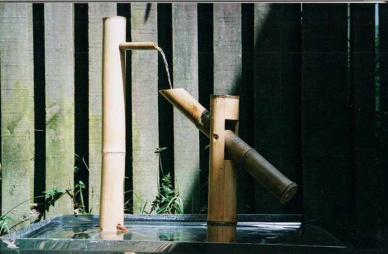 Water sculptures for Japanese garden water features bamboo